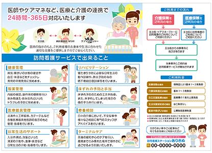 訪問看護のサービス内容を簡潔にわかりやすく伝える三つ折りリーフレット(中面)